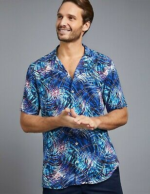 Hawes & Curtis Mens Curtis Hawaiian Print Relaxed Fit Shirt - Short Sleeve