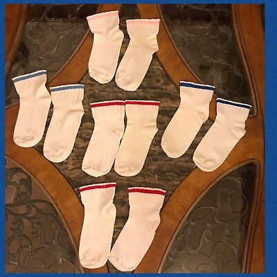 5 KIDS TUBE SOCKS 1970s HANES Wide Ankle Orlon Acrylic Red, Pink, Blue VINTAGE