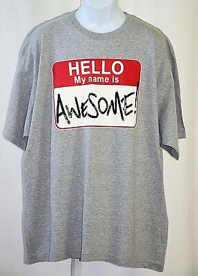 "Hello My Name Is Awesome Big & Tall Large 52"" Chest Heather Gray Graphic T Shirt"