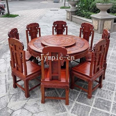 54 inch A set of rosewood handwork carved landscape round table and eight chair