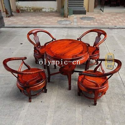 A set of rosewood handwork round table tea table desk and four chair