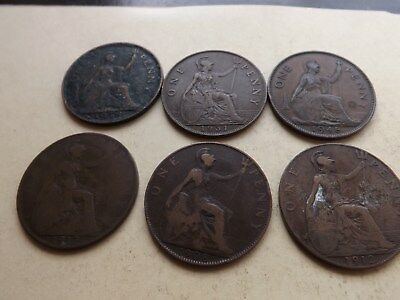UK - England - Great Britain Penny Mix Lot Of 6 Coins LOT-77-SS
