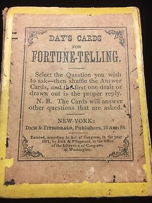 Day's Cards For Fortune Telling Dated 1871 By Dick & Fitzgerald Publishers OLD