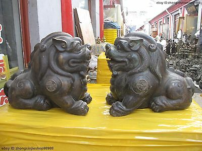 Chinese old Bronze copper FengShui Foo Dog Lion Brave troops Pair statue