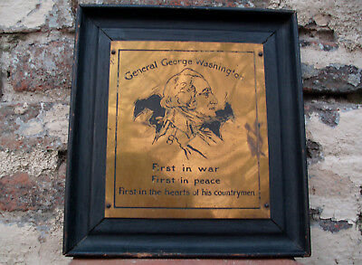Antique Arts Crafts Brass Etching Plaque George Washington Mission Oak Nash 1903