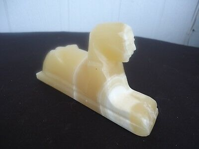 vintage alabaster stone sphinx egyptian  figurine paper weight Egypt