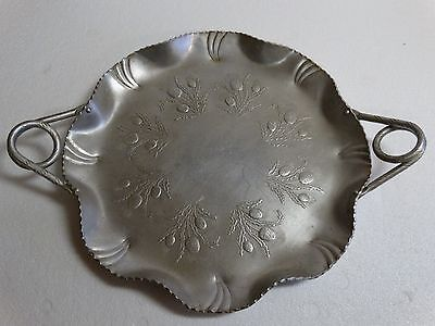 Vintage Antique Hand Wrought Aluminum Tray Farber & Shlevin Inc 1752