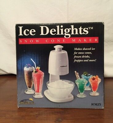 Salton Ice Delights Snow Cone Maker Shaved Ice Frozen Drinks Frappes