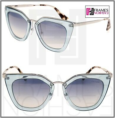 7ed1c22c20f PRADA CINEMA EVOLUTION Sunglasses 53S Translucent Azure Silver Mirror PR53S