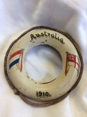 Vintage Rare Early Wooden Australia 1910 Small Novelty Life Boy Ring