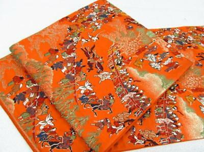 Japanese vintage antique Untailored OBI Heian Noble Embroidery Silk Gold leaf