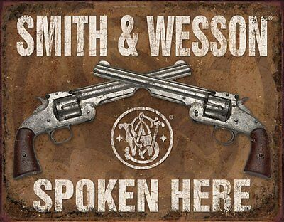 "Smith & Wesson Spoken Here 12"" x 16"" Metal Sign NEW USA SHIPPER"