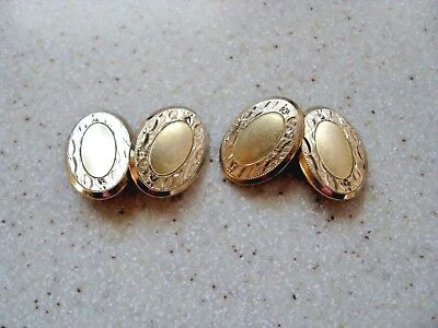 Pair of Beautiful Antique Vintage S.W.C. Co. 14 K Gold Shell Men's Cuff Links