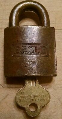 Vintage Antique EAGLE Brass Padlock Lock with Key WORKING Made in the USA