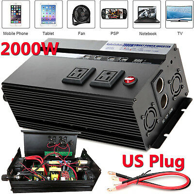 US Real High Power 2000W Car Portable Power Inverter DC 12V To AC 110V Converter