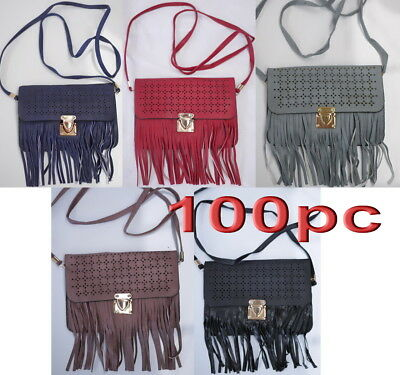 100pc Clearance Sale Women Girl PU Leather Small Messenger Crossbody Bag Mixed