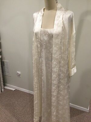 August Silk Ivory 100% Silk Night Gown and Belted Robe Set Sz L