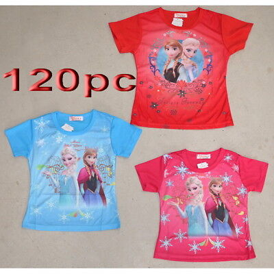120pc Clearance Kids Children Frozen T Shirt Girl's Clothing Mixed Color Size