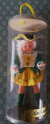 1960's world souvenir plastic doll in plastic tube Gruß aus Köln Germany