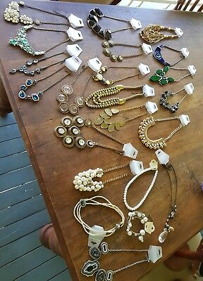 Bulk lot of costume necklaces. Some worn  once SOME TARNISHED 21 necklaces.