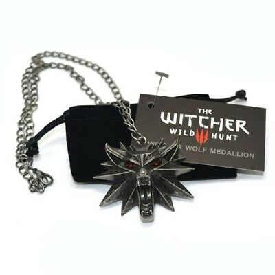 The Witcher 3 - Black Necklace Jinx Wild Wolf Medallion Collectible Red Eyes