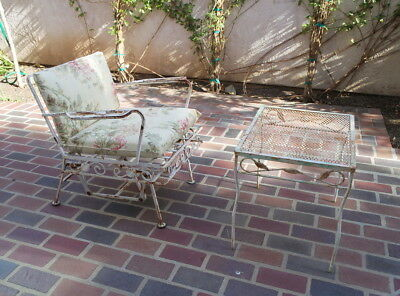 Vintage antique Wrought Iron Metal Patio Rocking Chair Table Set Shabby Chic