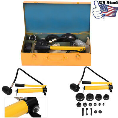 "15 Ton 1/2"" to 4"" Hydraulic Knockout Punch Kit Hand Pump 10 Dies Tool Hydra"