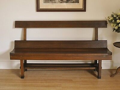 Antique Oak 157cm Church Pew Hall / Window / Feature / Bench Seat c1925