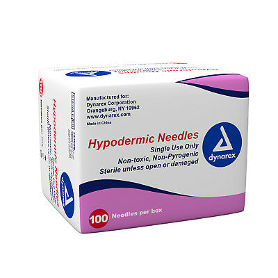 Dynarex Hypodermic Sterile Needles, Different Gauges & Sizes - Box of 100