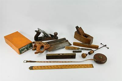 Collection of VINTAGE TOOLS measures levels STANLEY PLANE boxed