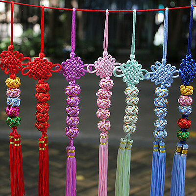 1PC Embroidery Chinese Knot with Five Balls Tassels Pendant for Home Car Decor