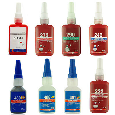50ml/20ml Threadlocker Threadlocking Adhesive Glue 222 272 290 406 401 480 242