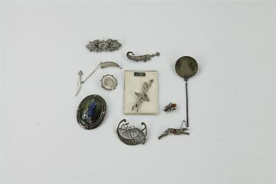 Lot of TEN .925 SILVER BROOCHES vintage antique dog bug coins