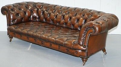 Victorian 1890 Stamped Cornelius V Smith Chesterfield Leather Sofa Brown Leather