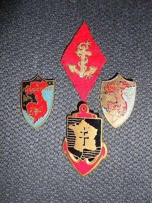 lot insignes indochine artilleur colonial. 2 fabrications artisanales