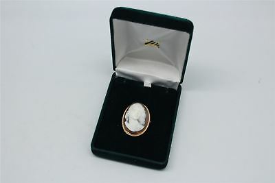 Beautiful Vintage 9ct GOLD Casing Front Facing Cameo BOXED - 7g