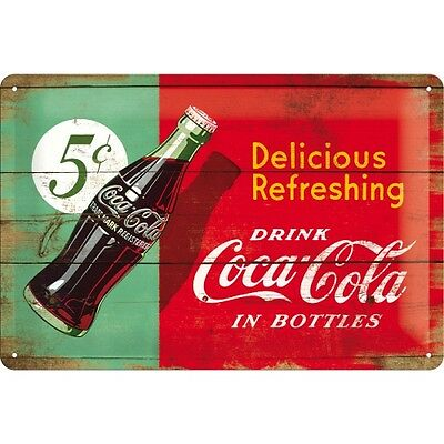 Targa in Latta Coca-Cola - Delicious Refreshing Green 20 x 30 in metallo