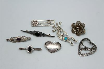 8 x Vintage .925 STERLING SILVER Brooches Mixed Designs Inc.Stone S -30g