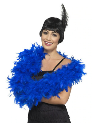 Deluxe Feather Boa Royal Blue 180cm 80g Fancy Dress Accessory