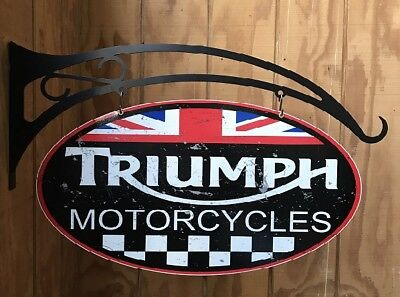 NEW Triumph Motorcycles Chequer flag double sided oval and Hanger tin metal sign