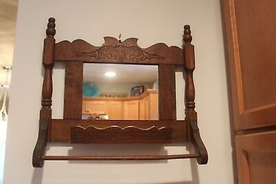 Vintage Antique Wood Wall Mounted Shaving Mirror with Towel Rack and Shelf