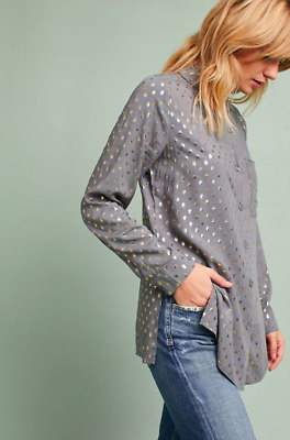 NWT $88 Anthropologie Rene Foiled Button down Shirt Top Dots by Solitaire Size S