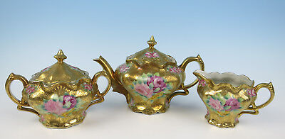 Antique Nippon Hand Painted Roses Heavy Gold Encrusted Teaport Sugar Creamer Set