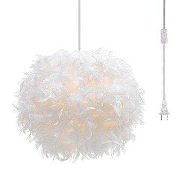 Plug in Pendant Light White Feather Chandelier with 17' Cord and On/off Swit...