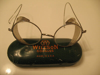 85d26e0879a7 Vintage Willson Goggles Eyeglasses Safety Glasses Steampunk Wire Round Tin  Case