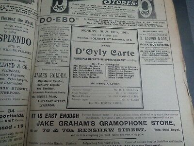 1911 D'Oyly Carte Opera Company, The Gondoliers, Iolanthe, Royal Court Liverpool