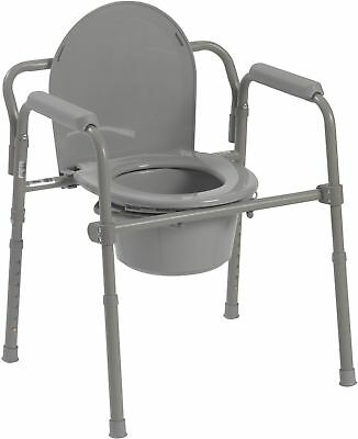 Steel Folding Bedside Commode Drive Medical CARRY HANDLE BUCKET SEAT LID POTTY