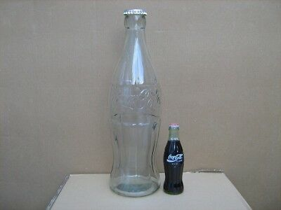 "Coca Cola Coke 20"" Glass Display Bottle Bank With Cap Huge!!"