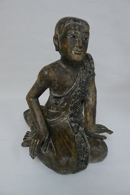 Vintage Wood Carving of Sitting Buddhist Monk C.1980s