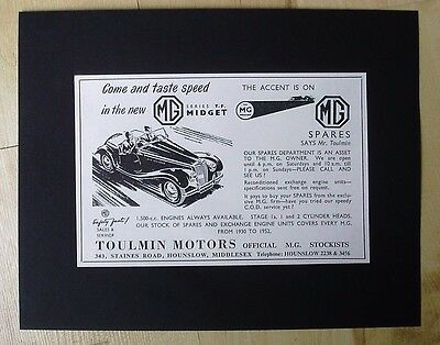 M.g. Midget - Toulmin Motors Hounslow -  Original Vintage Advert August 1954